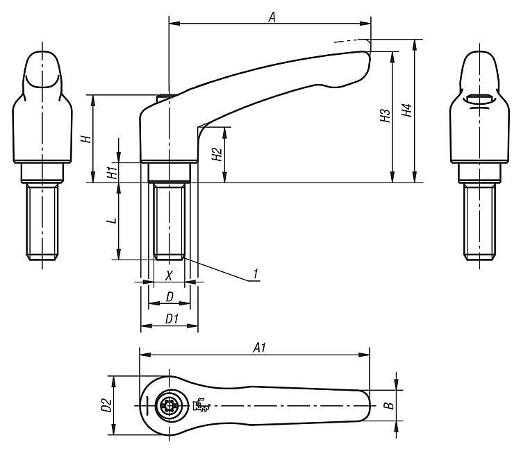Manette indexable en Inox avec insert fileté - Leviers de blocage, manettes indexables