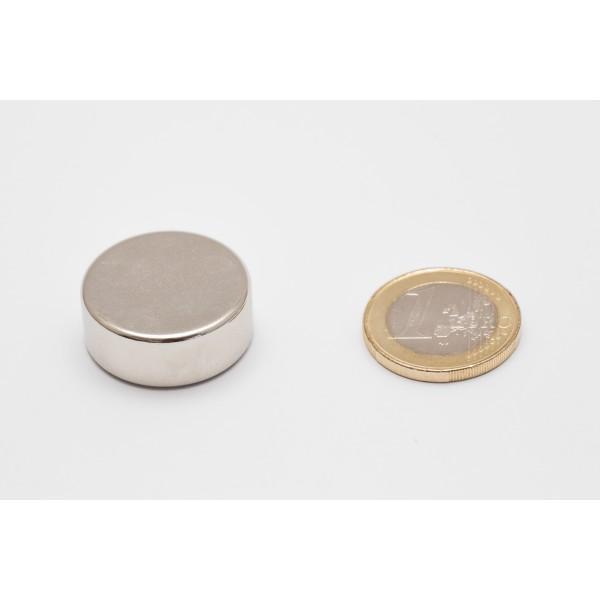 Neodymium disc magnet 25x10mm, N45, Ni-Cu-Ni, Nickel coated - Disc