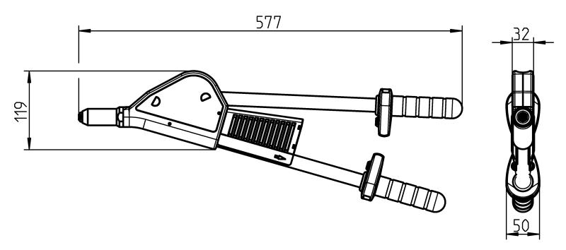 HN 2-BT (Hebel-Blindniet-Setzgeräte) - Hebel-Blindniet-Setzgerät mit feststehendem Gehäuse-Hebel
