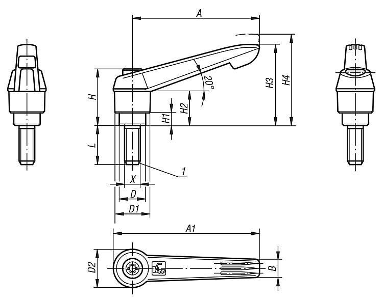 Manette indexable avec insert fileté en Inox et... - Leviers de blocage, manettes indexables