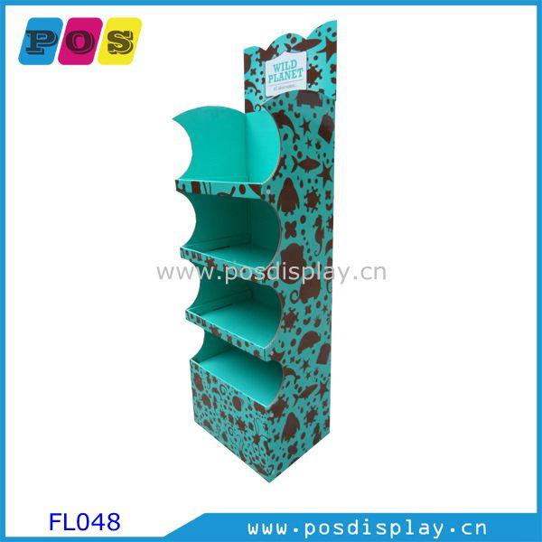 Corrugated POP floor display FSDU FL048 - Retail stores Cardboard FSDU with 4 shelves for Toys promotion