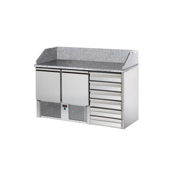 saladettes réfrigérées 2 portes et 6 tiroirs à repose pâtons - Référence SALA2SYC6