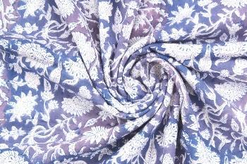 Hand Block Printed Pure Cotton Fabric Sanganeri Running Fabr