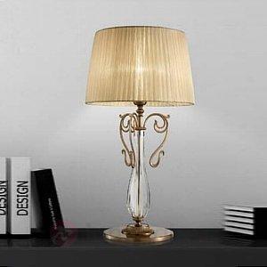 Lampe à poser Nereska en laiton diffuseur organza - Lampes à poser classiques, antiques