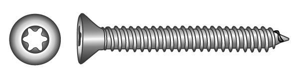 Senk-Blechschrauben mit TX-Innensechsrund-Antrieb - Material A2   A4