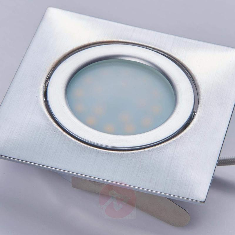Chrome recessed lamps with LEDs, square, set of 3 - Recessed Spotlights