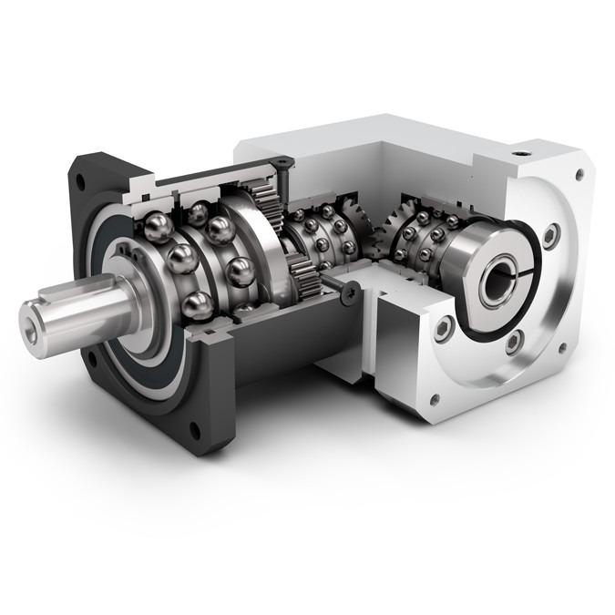 Right Angle Planetary Gearbox WPLQE - Economy Gearbox with Output Shaft - Spur gear - Bevel gear right angle stage