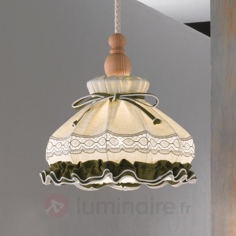 Suspension ELSA, style rustique, brodé, ronde - Suspensions en tissu