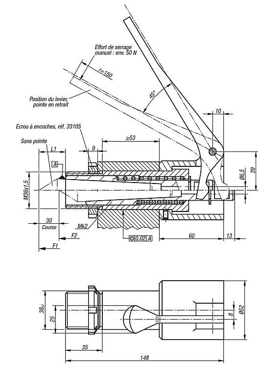 Pointe Mobile Réglable À Pompe - Eléments pour montage de contrôle