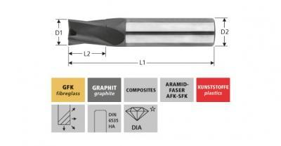 Milling Tools: for GFK/CFK - solid carbide finishing end mill, with 4-8 flutes and diamon
