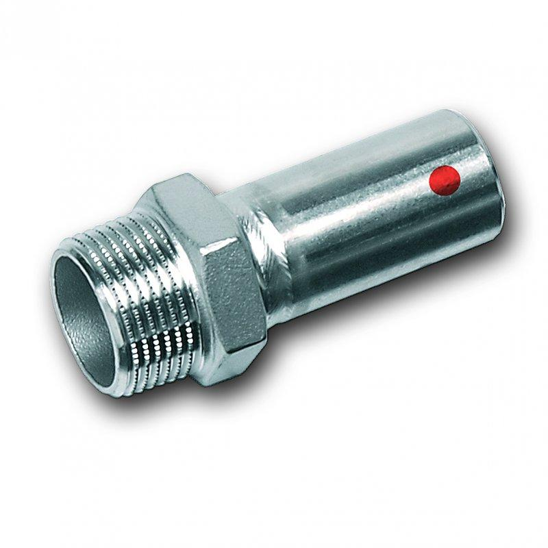 NiroTherm® male adaptor, with male plain end and male thread - Stainless steel press fitting system NiroTherm®, AISI 304, EPDM