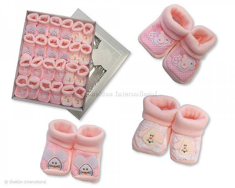 Baby Booties with Embroidery/ Applique - Pink - Booties
