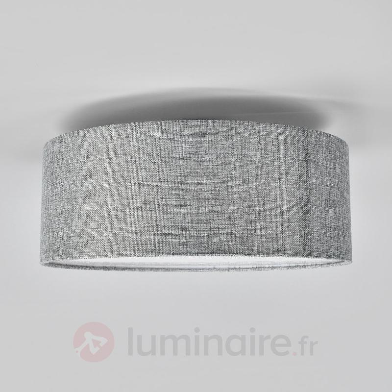 Plafonnier Henrika en tissu gris - Plafonniers en tissu