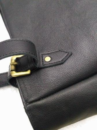 Leather Tote Bag - Handmade Black Leather Tote Bag