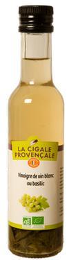 Vinaigre de Vin Vieux Blanc Biologique au Basilic  - 6 % d'acidité La Cigale Provençale