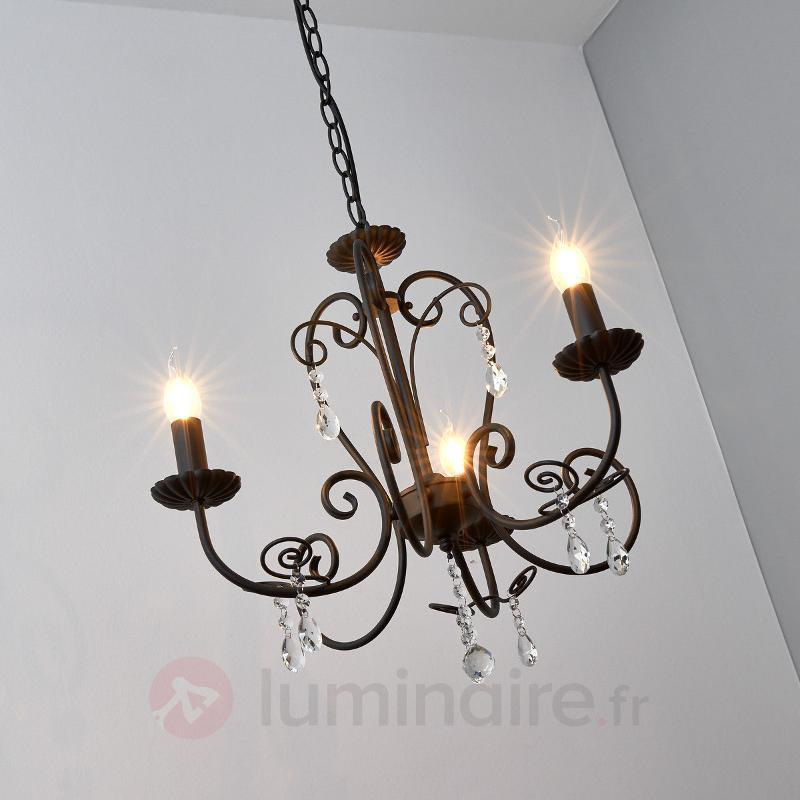 Lustre noir Sophina, à 3 lampes - Lustres classiques,antiques