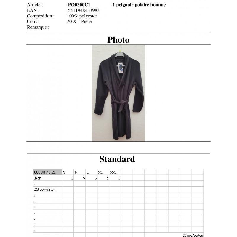 Peignoir Polaire Uni Homme PO0300C - PEIGNOIR