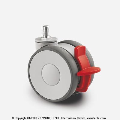 Roulette pour mobilier - Roulettes pivotantes à frein, LINEA 5927UAO075S70-M10x15 KP LN EN12528 RAL7001