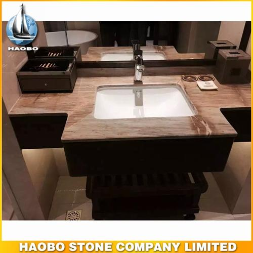 New Style Barcelona Gold Marble Vanity Top Designs With Sink