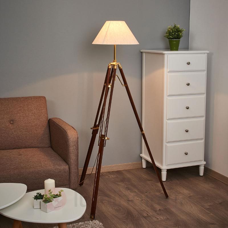 Magnifique lampadaire STATIV abat-jour blanc - Lampadaires en bois