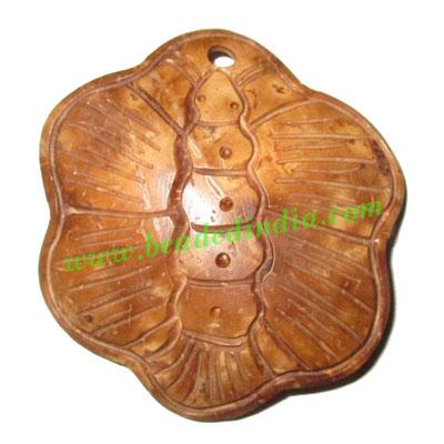 Handmade coconut shell wood pendants, size : 54x52x3mm - Handmade coconut shell wood pendants, size : 54x52x3mm