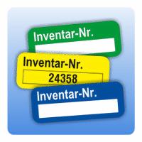 Inventaretikett Inventar-Nr. - Farbe: schwarz rot grün blau violett gelb braun grau rot Men