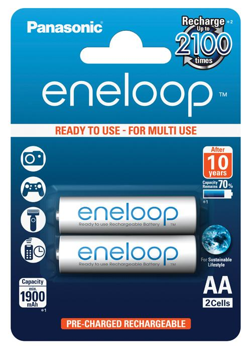 Batterie stilo ricaricabili Eneloop 2 pz - BK-3MCCE/2BE | Blister da 2 pile AA Panasonic