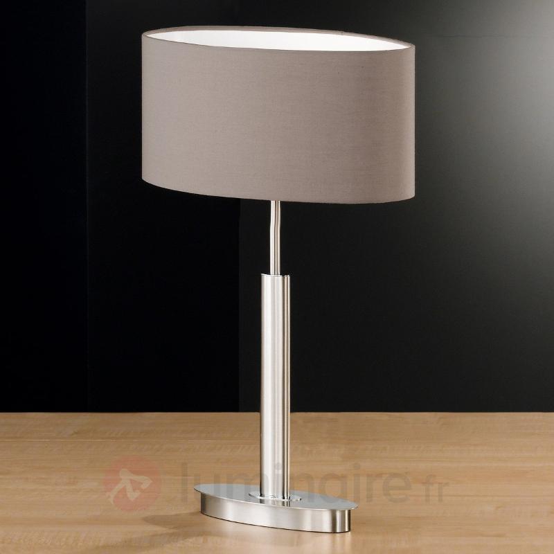 Lampe à poser ovale Finn avec abat-jour cappuccino - Lampes à poser en tissu