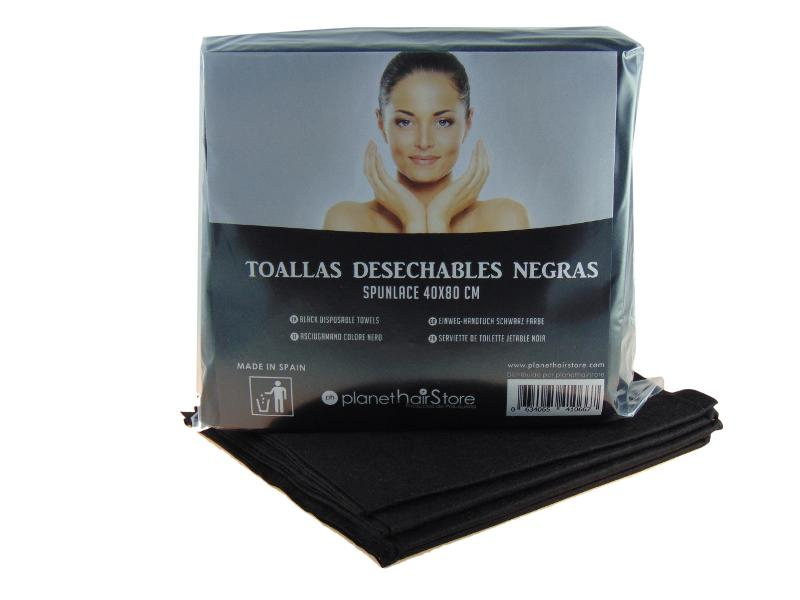 Toalla Desechable Spunlace 40×80 Negras Planethair Store® - null