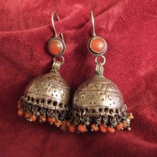 Boucles d'oreilles - Argent, coraux, cornalines, turquoises, Afghanistan
