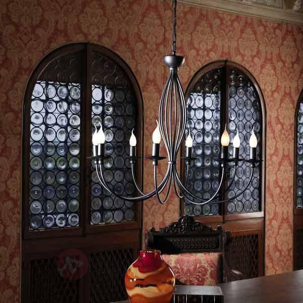 Lustre fascinant Rocco à 8 lampes anthracite - Lustres rustiques