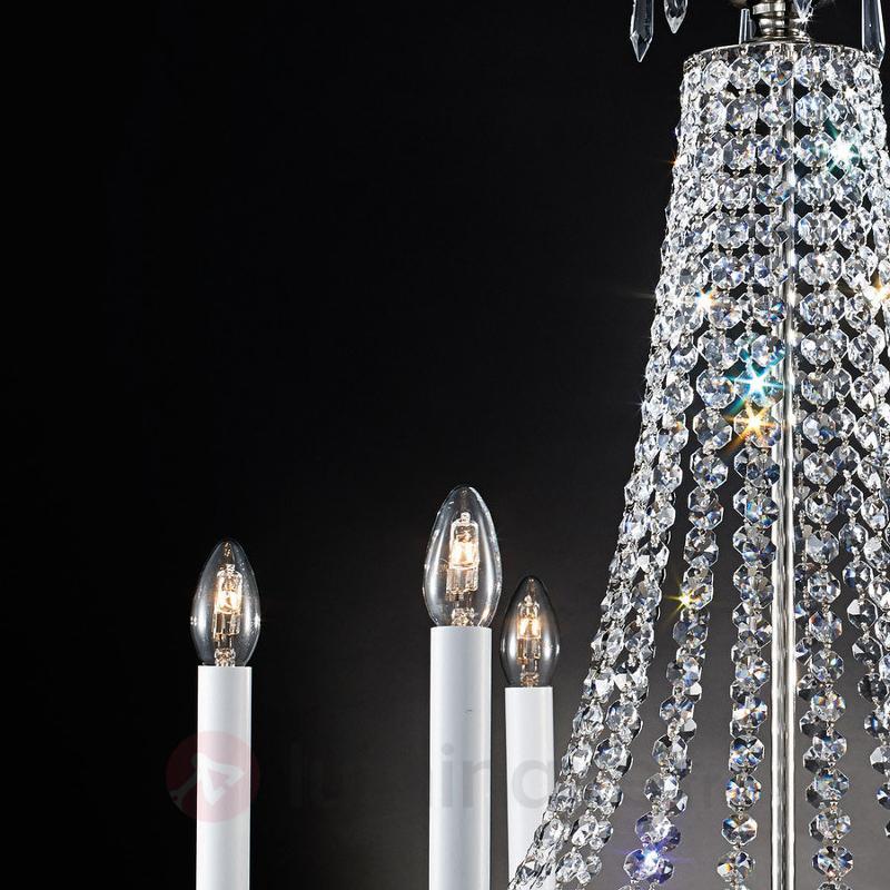 Lustre cristal Empire argent vieilli 6 lampes - Lustres en cristal