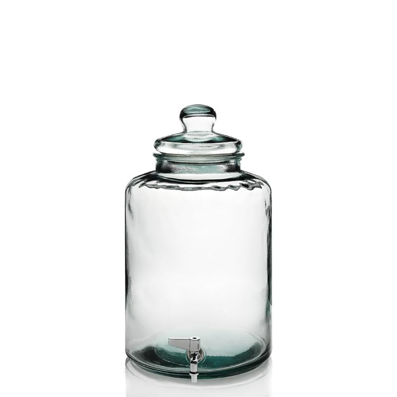 Cylindrical bottle with tap - in glass 100% recycled, 12 liters