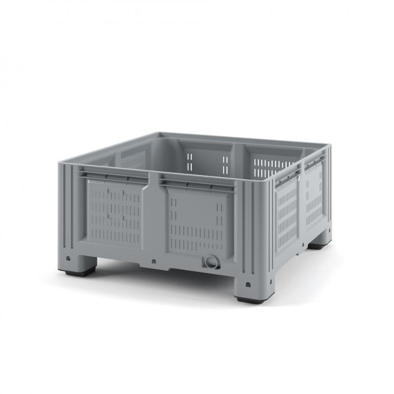 Plastic iBox Container1130x1130x580 (perforated, with legs) - Art.: 11.604S.92.С10