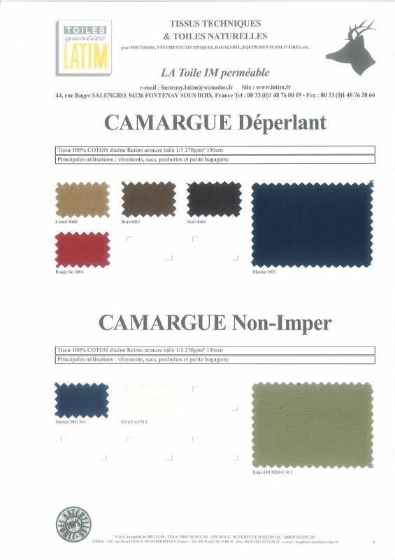 CAMARGUE Déperlant & CAMARGUE Non-Imper - Toiles naturelles