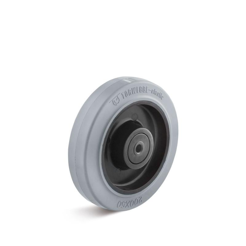 Elastic solid rubber wheels up to 350 kg - Wheel series EGK: plastic rim with elastic solid rubber tread