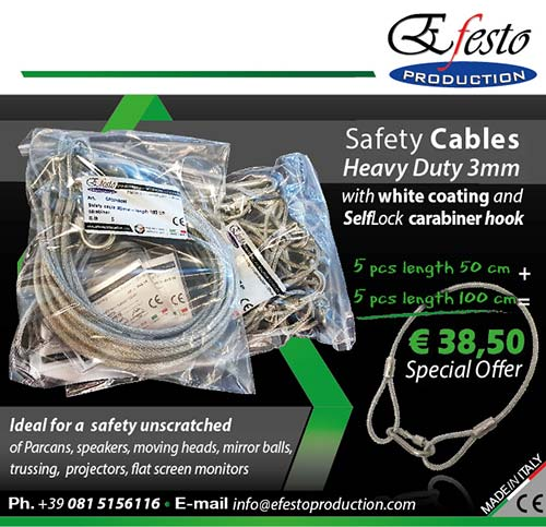 Safety cable Heavy Duty 3mm with white SelfLock carabiner ho