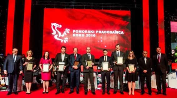 """Wyróżnienie w konkursie ,,Pomorski Pracodawca Roku 2016"""" dla"""