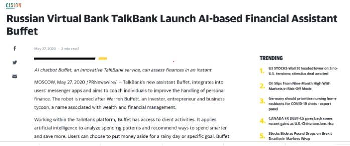 TalkBank Launch AI-based Financial Assistant Buffet