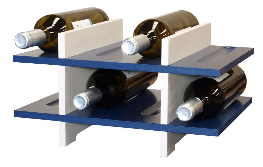 Nuevo Botellero en mdf blanco-azul 8 botellas