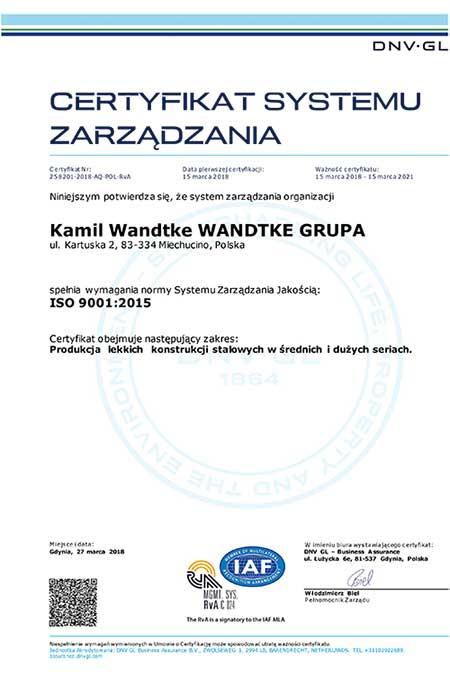 Nowy Certyfikat Systemu Zarządzana przyznany przez DNV-GL!