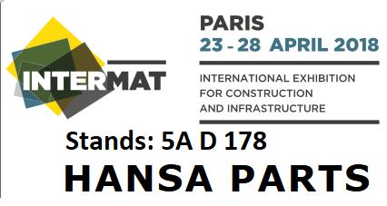Hansa Parts attending to Intermat Paris Tradeshow 23.-28