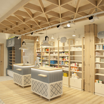 Decoración farmacia en Zarautz por Sube Interiorismo