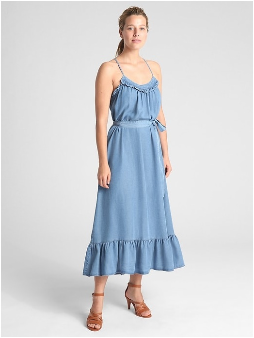 Ruffle Cami  Maxi Dress in Tencel