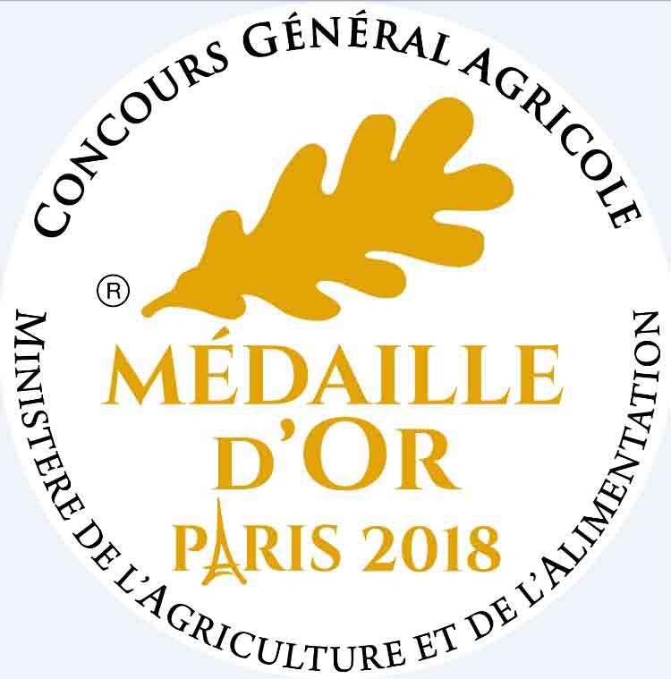 Médaille Or au Concours Général Agricole 2018
