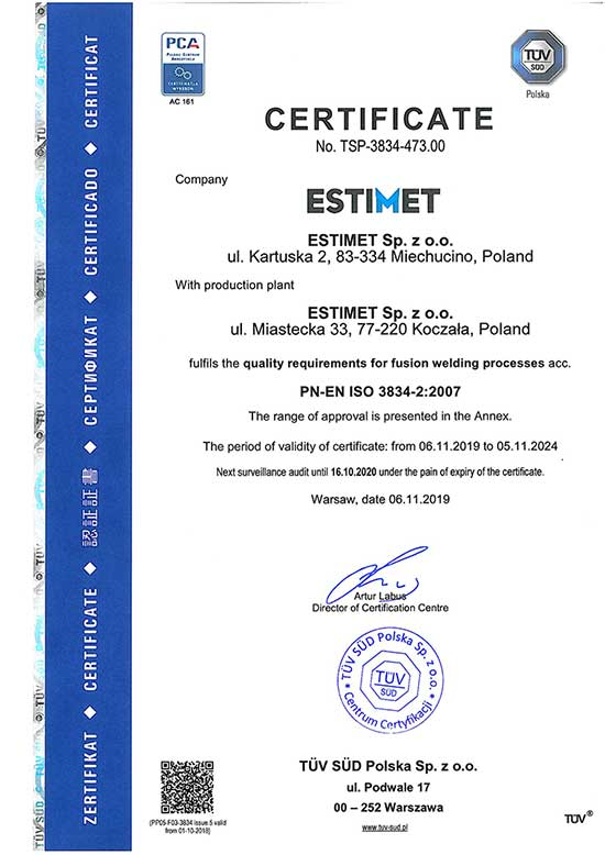 ISO 3834-2 certification!