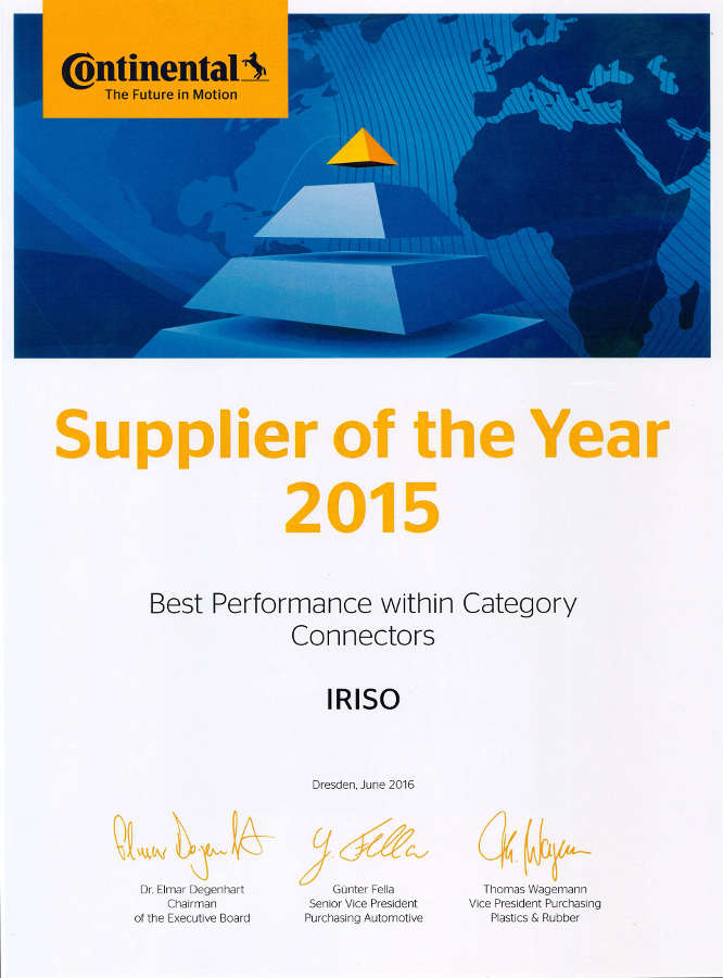 """Iriso ist """"Supplier of the year"""""""