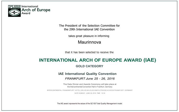Maurinnova Galardonada con el premio INTERNATIONAL ARCH OF E