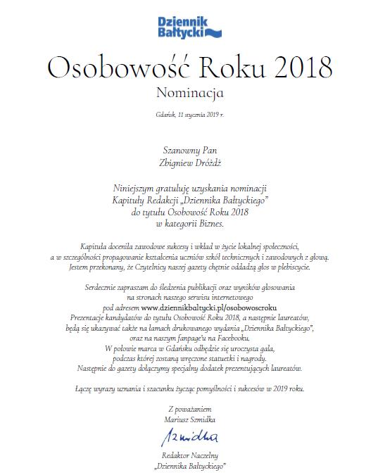 Nominacja do nagrody Osobowość Roku 2019 w kategorii Biznes
