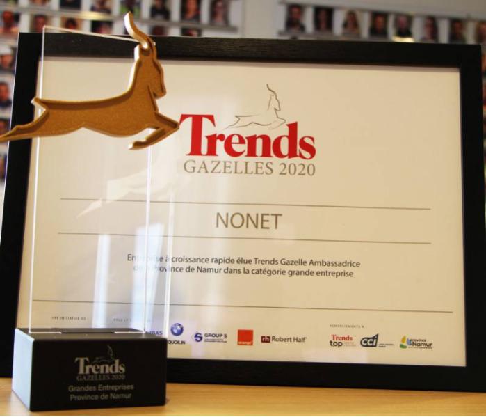 Nonet remporte le prix Trends Gazelles 2020
